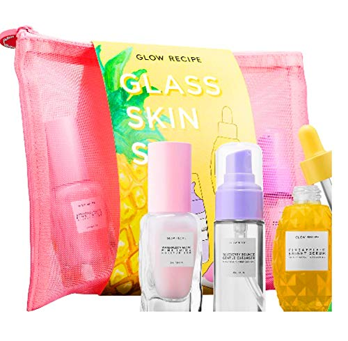 Glow Recipe Glass Skin Set Mini Travel Size Watermelon Mask Blueberry Cleanser Pineapple C Bright Serum