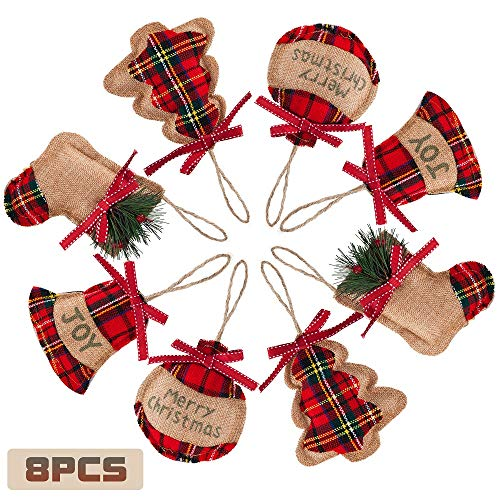 8 Pieces Christmas Tree Ornaments Xmas Hanging Decorations Stocking Ball Tree Star Shapes for Christmas Holiday Party Home Decor Bell (Red)]()