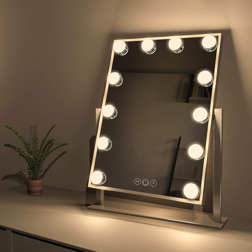 Fenair Makeup Vanity Mirror With Lights, Large Lighted Vanity Makeup Mirror 47cm x30cm – Hollywood Style,3 Color Lighting Model,360 Rotation Cosmetic Mirror With 12 Detachable Dimmable Bulbs White