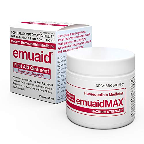 Strength First Aid Antibiotic Ointment - EmuaidMAX® Ointment - Antifungal, Eczema Cream. Maximum Strength Treatment. Use Max Strength for Athletes Foot, Psoriasis, Jock Itch, Anti Itch, Ringworm, Rash, Shingles and Skin Yeast Infection.