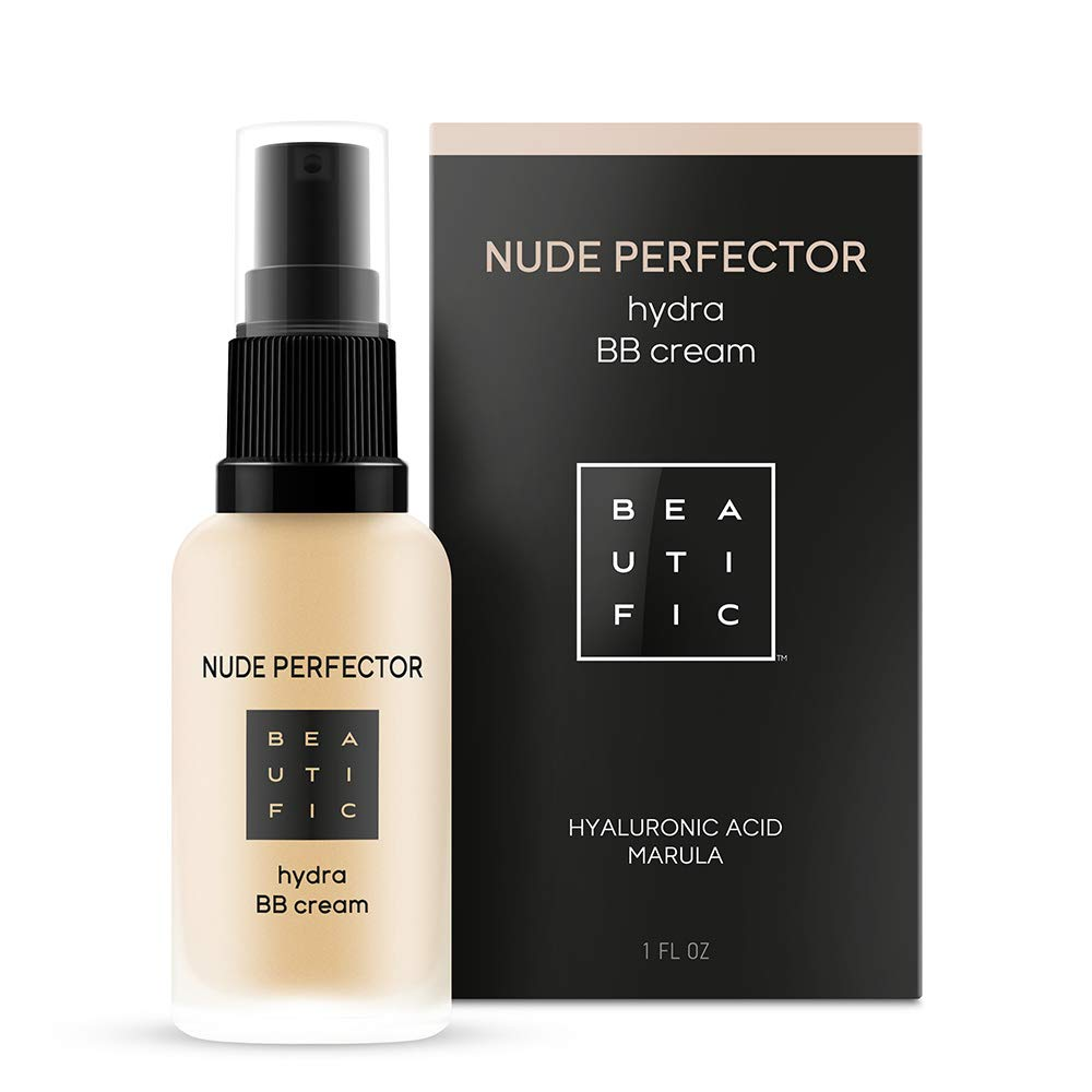 BEAUTIFIC Natural BB Cream Light Beige | Tinted Moisturizer for Face with Hyaluronic Acid | Skin Perfector Vegan Make up | Best Matte Finish BB Cream for Women and Men - 1 fl.oz
