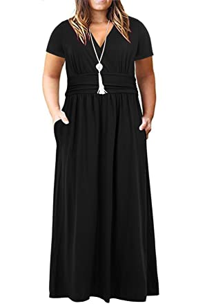 988cbdfecdea Nemidor Women's Short Sleeve V-Neck Wrap Waist Plus Size Casual Maxi Dress  with Pocket