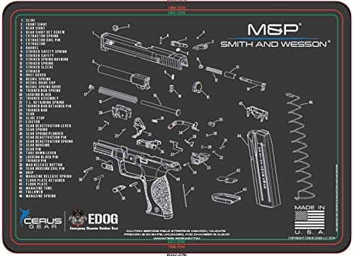 EDOG Smith & Wesso S&W M&P Cerus Gear Schematic (Exploded View) Heavy Duty Pistol Cleaning 12x17 Padded Gun-Work Surface Protector Mat Solvent & Oil Resistant & Bonus 18x18 Paper Training Target