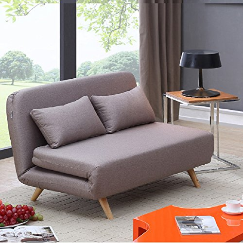 JK037 Modern Sofa Sleeper in Beige Microfiber