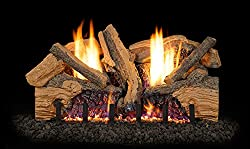 Peterson Real Fyre 24-inch Foothill Split Oak Log Set Vent-Free Propane ANSI Certified G19 Burner - Variable Flame Remote