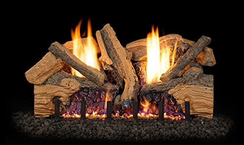 Peterson Real Fyre 18-inch Foothill Split Oak Log Set With Vent-free Natural Gas Ansi Certified G19 Burner - Electronic Non-standing Pilot And Variable Flame Remote ()