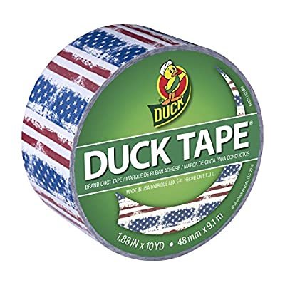 Duck Brand 241493 Americana, Red, White, and Blue Printed Duct Tape, 1.88 In x 10 yd