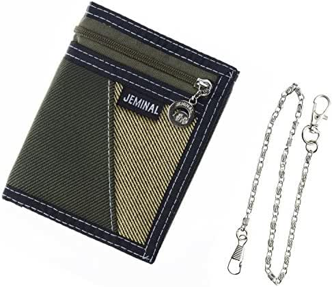 JEMINAL New Mens Canvas Vertical Wallets Purse with chain