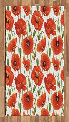 Lunarable Flower Area Rug, Poppy Flowers Bloom Design Buds Water Droplets Dew Morning Time Pattern, Flat Woven Accent Rug for Living Room Bedroom Dining Room, 2.6 x 5 FT, Orange Fern Green White - Hall Orange Poppy