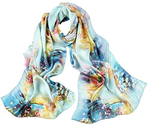 flores colores mujeres verano playa de azul de bufanda mezclados 8 5 seda bufanda Todas ultravioleta anti turismo imprimir las zRwO4
