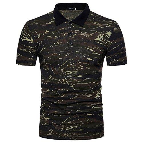 Serzul Men's Polo Shirt Casual Camouflage Print Turn-Down Collar T-Shirt Top Blouse (2XL, Green) from Suzul_Men's Fashion