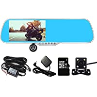 Panlelo PA-X5A Android 4.4 DVR 1G RAM 16G ROM+32G FlashC10 SD Card 5 Anti-glare HD Dual Lens Rearview Mirror Dash Cam Capacitive Touch screen with Reverse Parking System Power Adapter WiFi Bluetooth