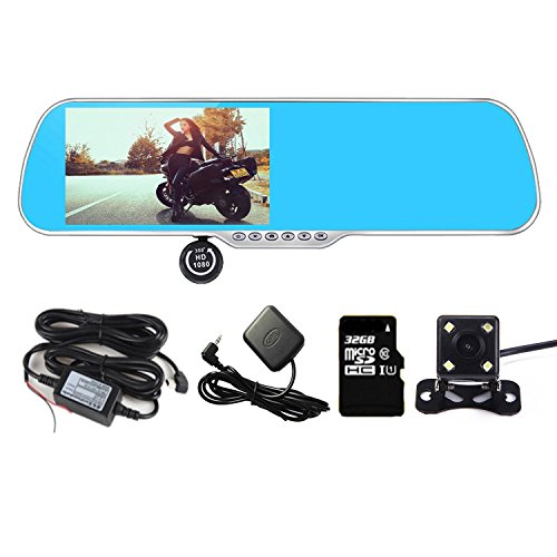 Panlelo PA-X5A Android 4.4 Dash Cam 1G RAM 16G ROM+32G FlashC10 SD Card 5'' Anti-glare HD Dual Lens Rearview Mirror Dash Cam Capacitive Touch Screen Vehicle DVR Auto Camera with Car Charger WiFi BT by Panlelo