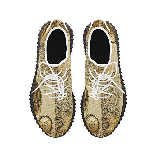 D-story Retro Mapa Y Brújula Grus Hombres Boost Zapatos Boost Sneakers Energy Bounce Transpirable Tejido Corriendo Zapatos Para Hombre