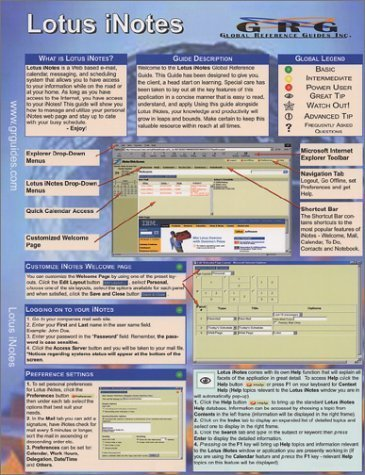 Lotus iNotes: Quick Reference Guide by Sellers, Drew (2002) Pamphlet