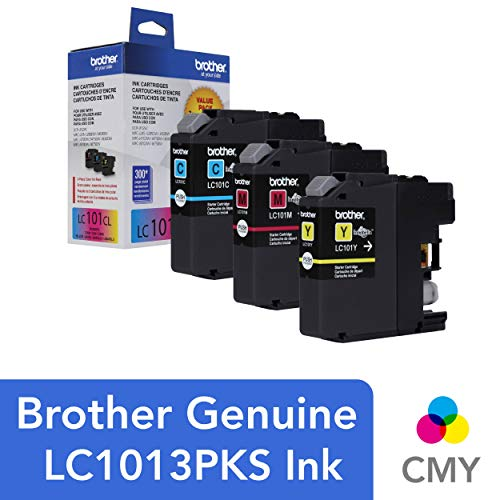- Brother Genuine Standard Yield Color Ink Cartridges, LC1013PKS, Replacement Color Ink Three Pack, Includes 1 Cartridge Each of Cyan, Magenta & Yellow, Page Yield Up To 300 Pages/Cartridge, LC101