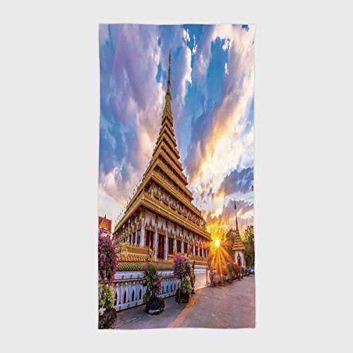 One Side Printing Hotel SPA Beach Pool Bath Hand Towel,Home Decor Golden Temple at Sunset with Clouds and Flowers in Garden Classic Zen Art Decorative Gold Blue,for Kids Teens and Adults from iPrint