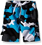 Kanu Surf Little Boys' Toddler Camo Swim Trunk, Black/Aqua, 3T