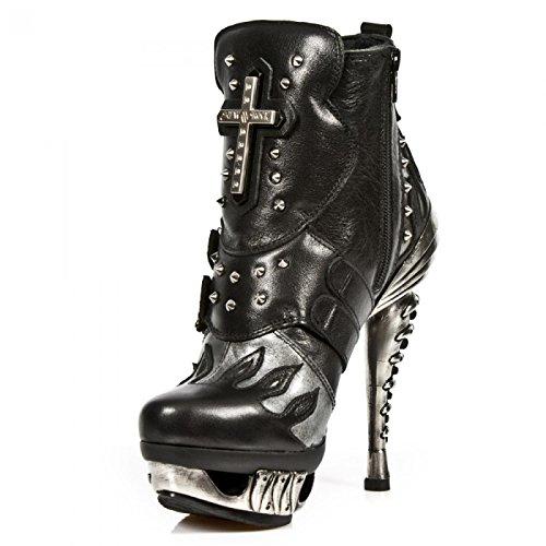 New Rock Laarzen M.mag005-s1 Gothic Hardrock Punk Damen Stiefelette Schwarz
