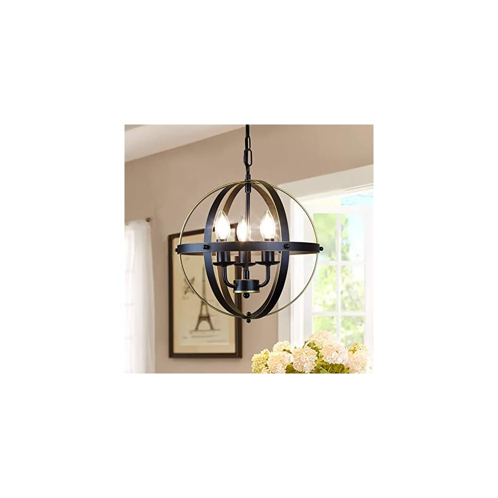 DLLT Chandelier Farmhouse Hanging Lighting, 3 Lights Globe Ceiling Light Fixture, Metal Swag Pendant Lighting for…