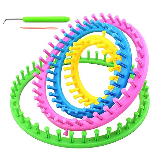 Hdecor DIY Round Shape Plastic Knitting Looms, Set of 4 (Large Round Loom)