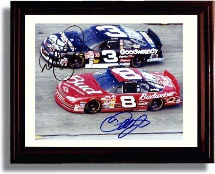 (Framed NASCAR Dale Earnhardt & Dale Jr. Autograph Replica Print)