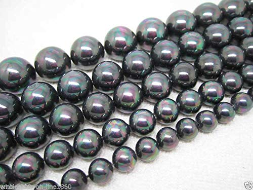 Fricgore, Handmade Jewelry, 8mm 10mm 12mm Multicolor Black South Sea Shell Pearl Gemstone Loose Beads 15