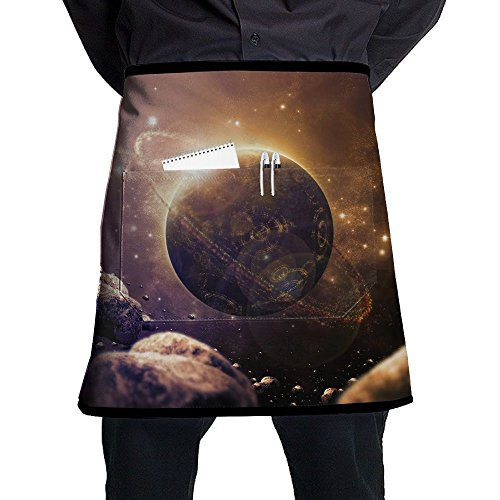 Waist Short Apron Half Chef Apron With Pockets Abstract Planet Print Home Kitchen Cooking Pinafore For Bistro Restaurant Cafe Pub BBQ Grill -
