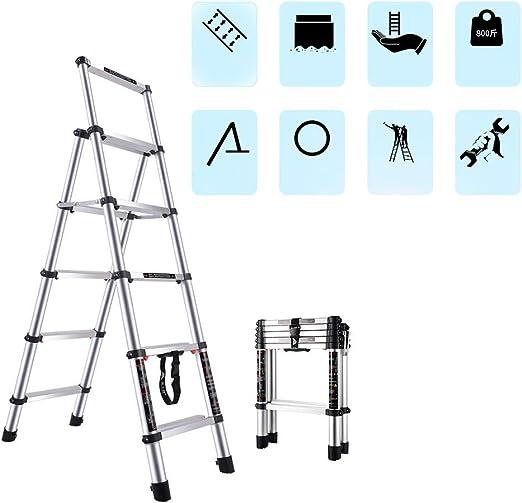 Escalera telescópica, escalera de extensión de aleación de aluminio, escalera de construcción, escalera portátil multifunción para caminar, escalera de cuatro escalones, escalera de cinco escalones: Amazon.es: Jardín