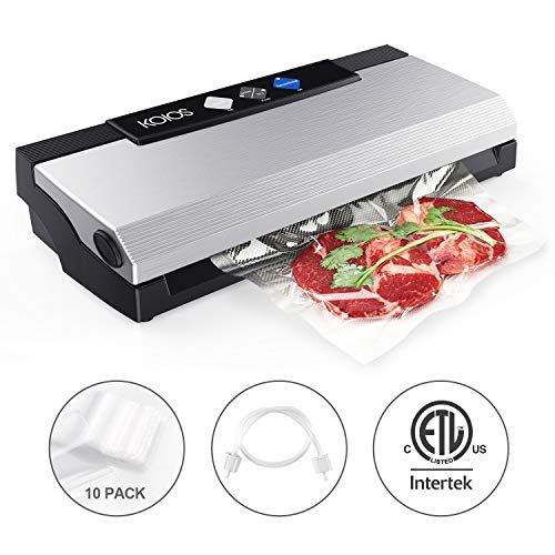 KOIOS Vacuum Sealer Machine, 80Kpa Automatic Food Sealer with Cutter for Food Savers, 10 Sealing Bags (FDA-Certified), With Up To 40 Consecutive Seals, Dry & Moist Modes, Compact Design (Silver) (Best Vacuum Sealer For Mylar Bags)