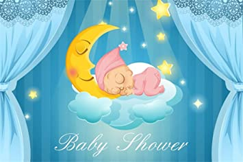 Amazon Com Aofoto 6x4ft Polyester Sweet Baby Sleeping On Moon Background Curtain Glitter Stars Baby Shower Backdrops Girl Or Boy Gender Reveal Party Decoration Banner Photo Studio Prop No Wrinkle Camera