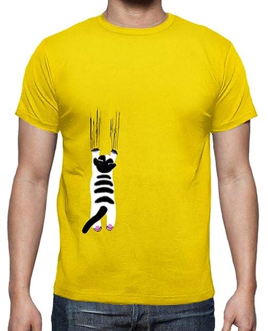 latostadora - Camiseta Cats Love para Hombre Amarillo limón L: info: Amazon.es: Ropa y accesorios