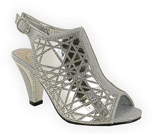 Aaishaz 786 Sexy Sonia Wedding Diamantes Comfort LSA-6057 Smart Casual Party Caged Sandals (UK 4, Silver)