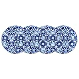 Q Squared Talavera in Azul BPA-Free Melamine Appetizer Plate, 5-1/2 Inches, Set of 4, Blue and White