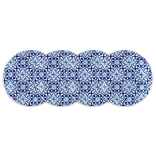 Q Squared Talavera in Azul BPA-Free Melamine Appetizer Plate, 5-1/2 Inches, Set of 4, Blue and White Blue Snack Plate