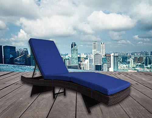 Outdoor Lounge Chair Patio Furniture Brown PE Rattan Adjustable Deck Chair Cushioned Chaise Lounge Chair(Royal Blue Cushion)