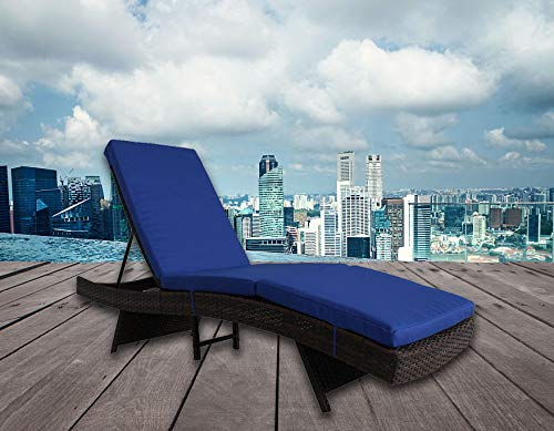 Outdoor Lounge Chair Patio Furniture Brown PE Rattan Adjustable Deck Chair Cushioned Chaise Lounge Chair Royal Blue Cushion