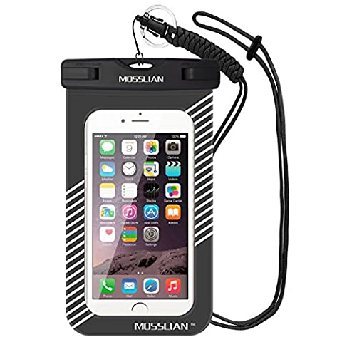 MOSSLIAN Universal Waterproof Case Dry bag with Eco-friendly TPU for Apple iPhone 6, 6S, Samsung Galaxy S7 Up To 6.0 Inches (Black and (Phone Mp4)
