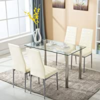Alitop 5 Piece Dining Table Set w/4 Chairs Glass Metal Kitchen Room Breakfast Furniture