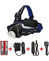 LX T6 Zoomable LED Headlamp Telescopic Focusing Headlight with 3 Modes for Fishing&hunting&camping, Included Rechargeable Batteries/car Charger/ac Charger/usb Cable(black+blue)