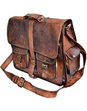 TUZECH Rustic Big Pocket Pure Leather Bag Office Design Perfect Vintage Adjustable Professionals Satchel Bag - Fits Laptop Briefcase Bags for Men Women(15 Inches)