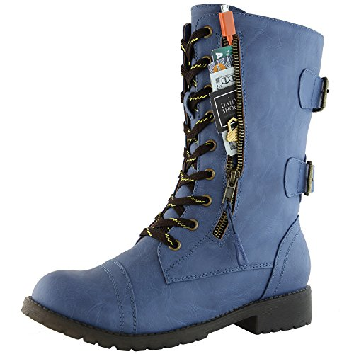 DailyShoes Women's Military Combat Ankle Boots Lace Up Buckle Mid Knee High Exclusive Credit Card Pocket Bootie, Premium Blue Pu, 9 B(M)
