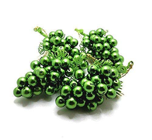 (Grapes, Green, Glass Beads Ornaments, Mid Size, Set of 4)