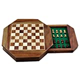 Zap Impex ® Wooden magnetic chess Octangle ChessMen Set Wooden Board Travel Games 7 Inches