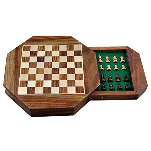 Zap Impex ® Wooden magnetic chess Octangle ChessMen Set Wooden Board Travel Games 7 Inches by Zap Impex ®