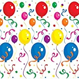 Pack of 6 Festive Multicolor Balloons & Confetti Backdrop Wall Decorations 4' x 30'
