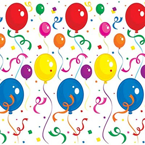Pack of 6 Festive Multicolor Balloons & Confetti Backdrop Wall Decorations 4' x 30' by Party Central