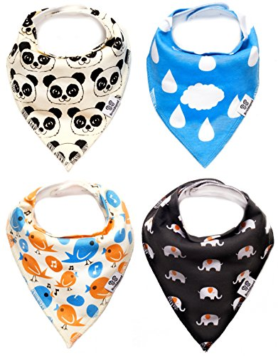 Bandana Bib 4 Pack - Cute Animals Unisex Bandana Bibs for Baby Boys and Girls - Baby Gift Set