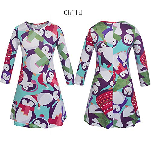 Landfox Maxi Dress, clearence,Christmas Mommy & Me Women Cartoon Print Dress Family Clothes White]()