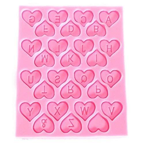 Hosaire Molde de Silicona de Pastel Molde de Fondant DIY Decoración de Repostería Pastel Cookie Letras inglesas (En forma de corazón Rose): Amazon.es: Hogar